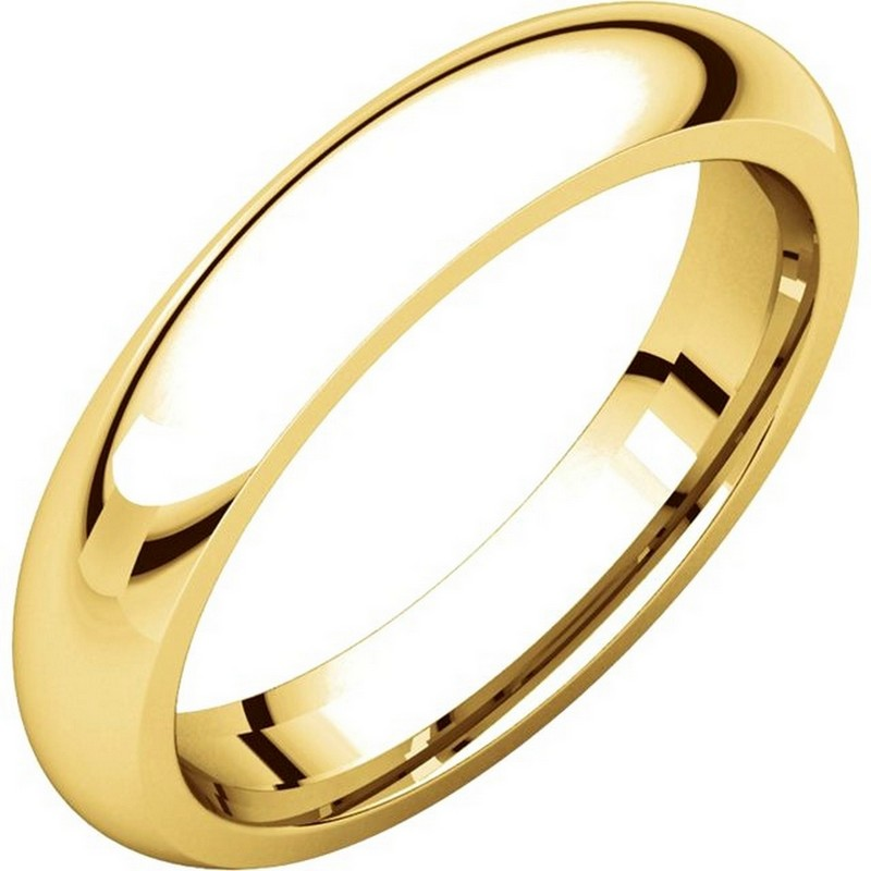 14K Gold 4mm Wide Heavy Comfort Fit Plain Wedding Band