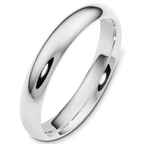 Silver 4mm Wide Heavy Comfort Fit Plain Wedding Band