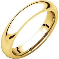 18K Yellow Gold 4mm Wide Heavy Comfort Fit Plain Wedding Band