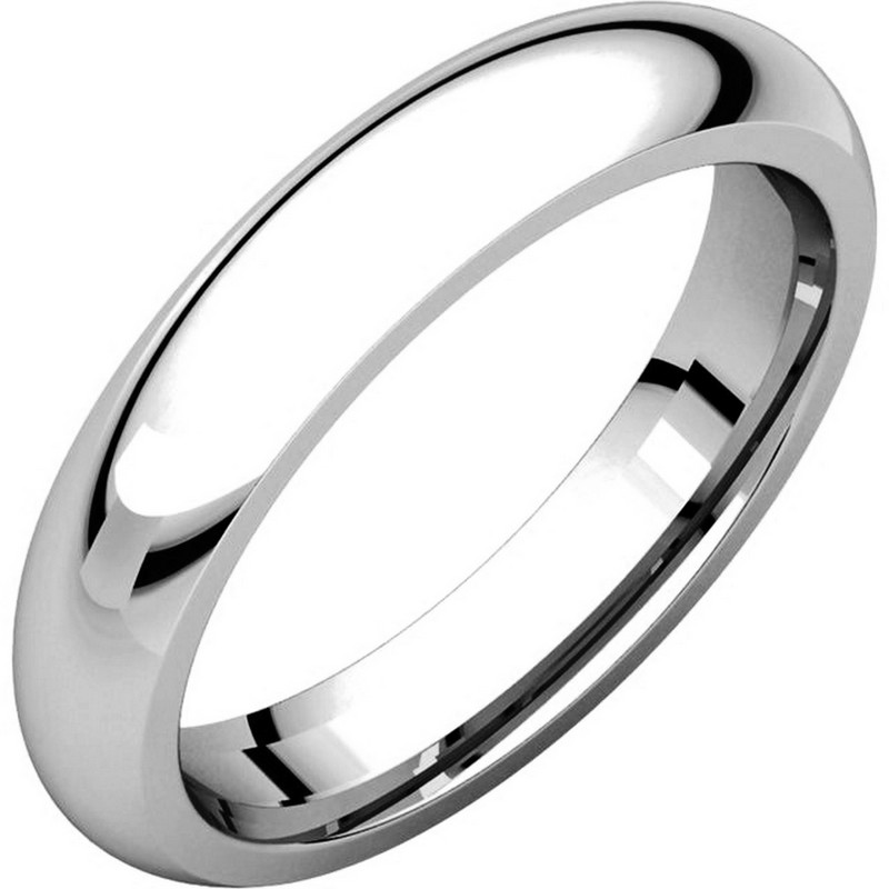 18K White Gold 4mm Wide Heavy Comfort Fit Plain Wedding Band