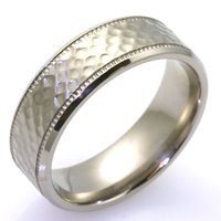 Item # WB7661TI - Titanium Hammer Finished Wedding Band