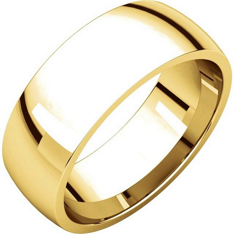 14K Yellow Gold 7mm Wide Comfort Fit Plain Wedding Band