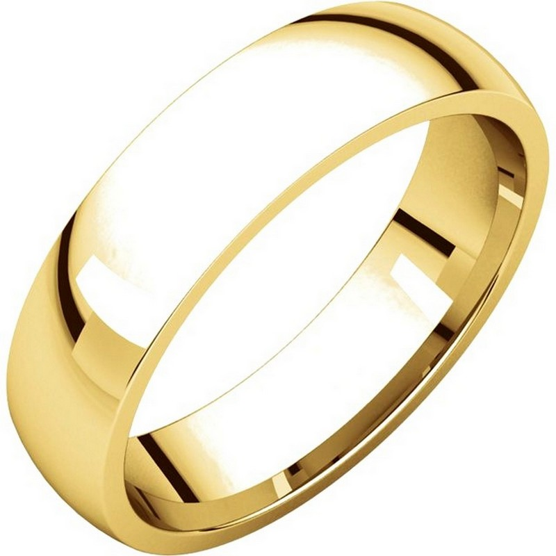 14K Yellow Gold 5mm Wide Comfort Fit Plain Wedding Band
