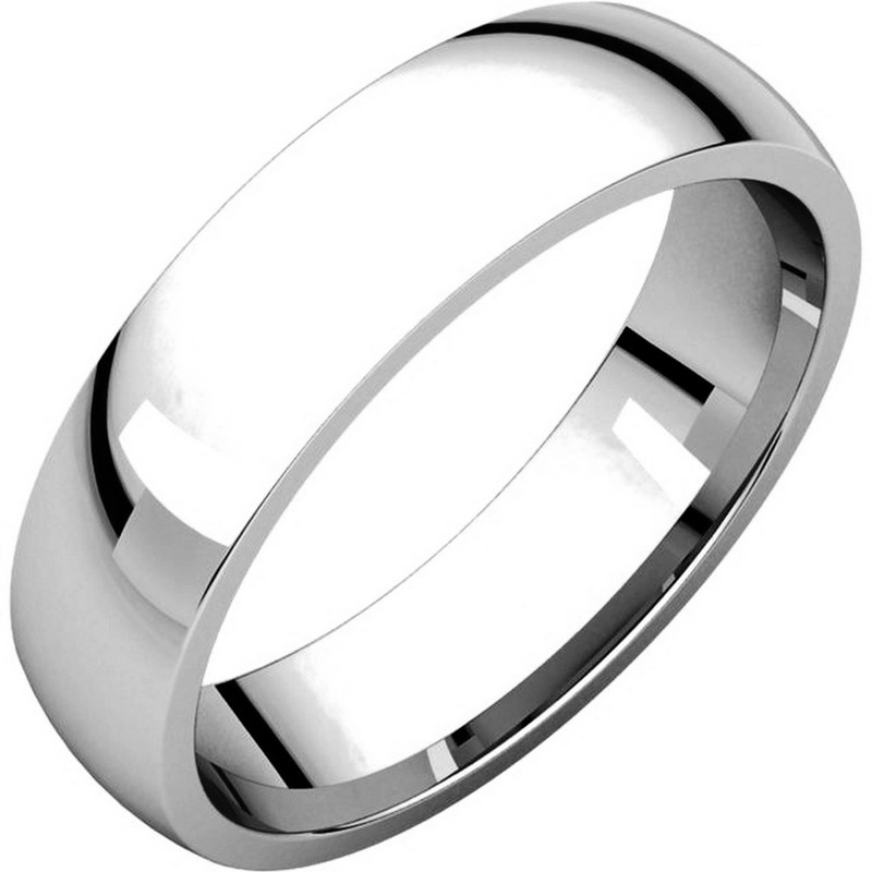 18K White Gold 5mm Wide His and Hers Comfort Fit Plain Wedding Band
