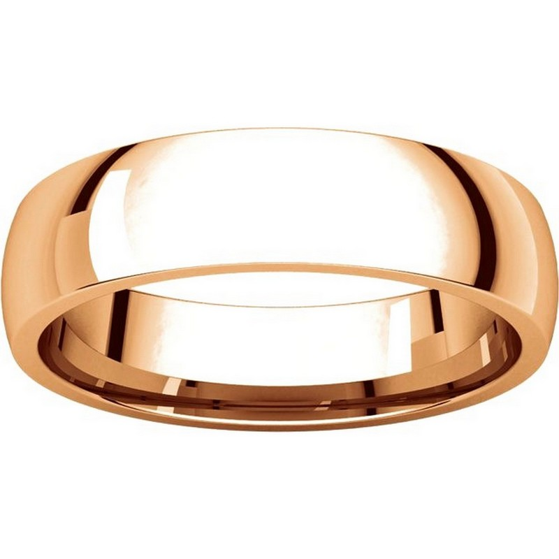 Item # X123811R - 14K Rose Gold 5mm Comfort Fit Wedding Bands View-3