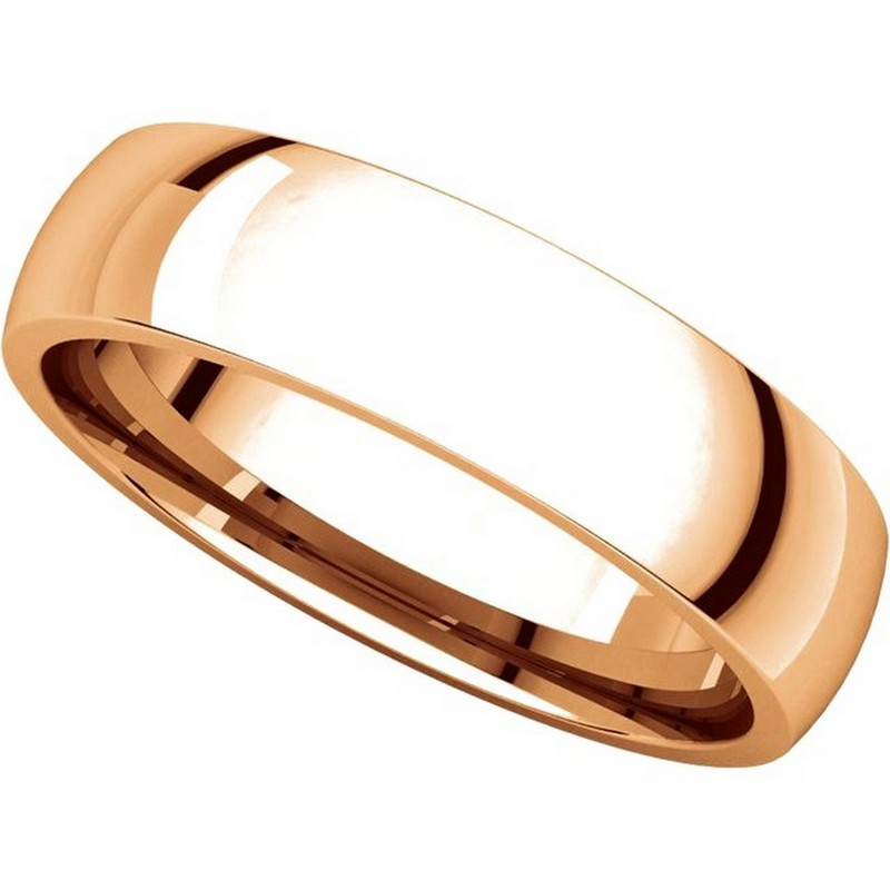 Item # X123811R - 14K Rose Gold 5mm Comfort Fit Wedding Bands View-4