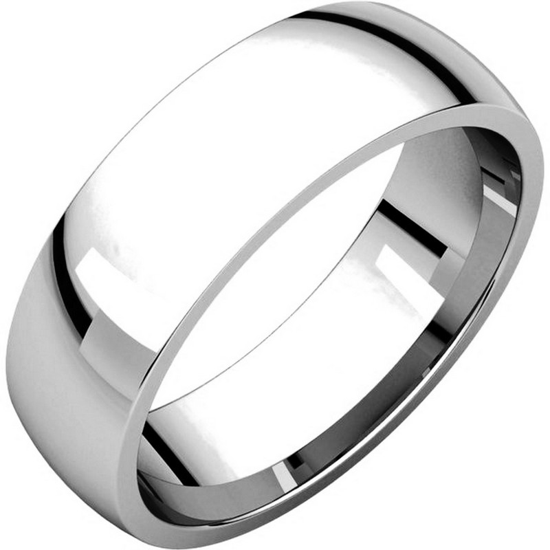 X123821WE 18K White Gold 6mm Plain Wedding Band His And Hers Comfort Fit