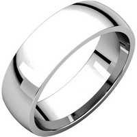 14K White Gold 6mm Wide Comfort Fit Plain Wedding Band
