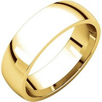 14K Yellow Gold 6mm Wide Comfort Fit Plain Wedding Band