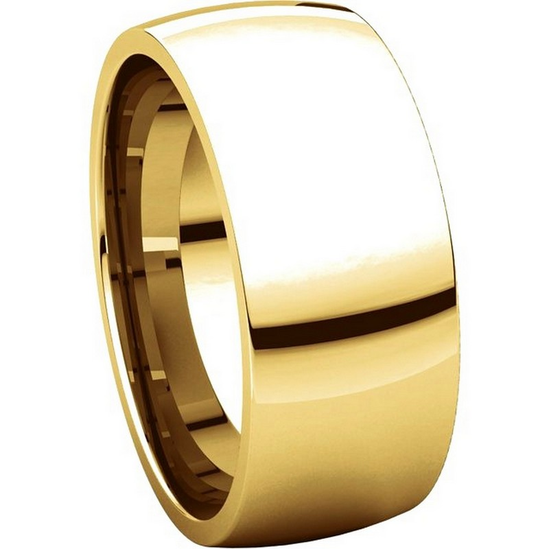 Item # X123831 - 14K Gold 8mm Comfort Fit Plain Wedding Band View-5