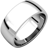 14K White Gold 8mm Wide Comfort Fit Wedding Band