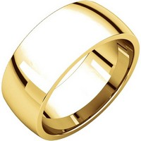 14K Yellow Gold 8 mm Wide His and Hers Comfort Fit Plain Wedding Band