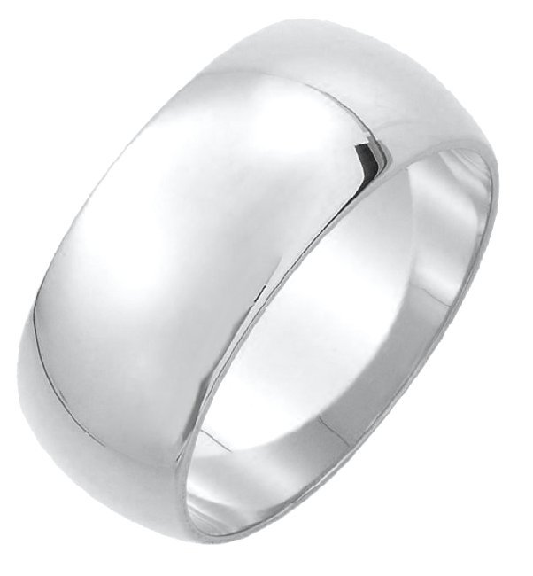 Silver 925 10mm His and Hers Heavy Comfort Fit Plain Wedding Band