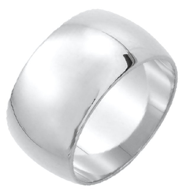 Item # XH1168312AG - Silver 925 12mm Heavy Comfort Fit Plain Wedding Band View-1