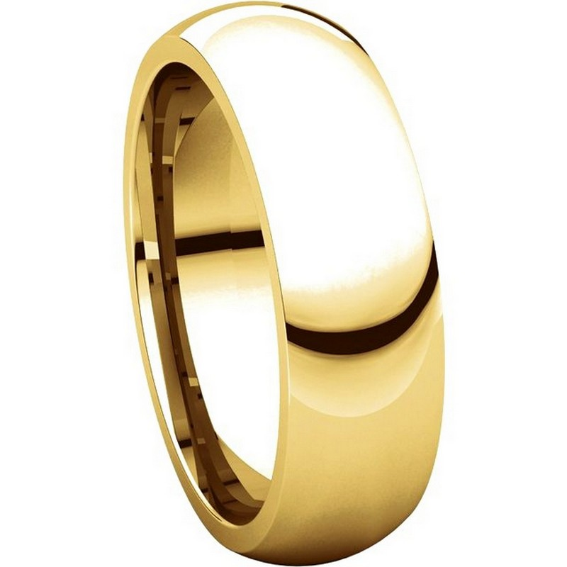 Item # XH123826 - 14K Gold 6mm Heavy Comfort Fit Plain Wedding Band View-5