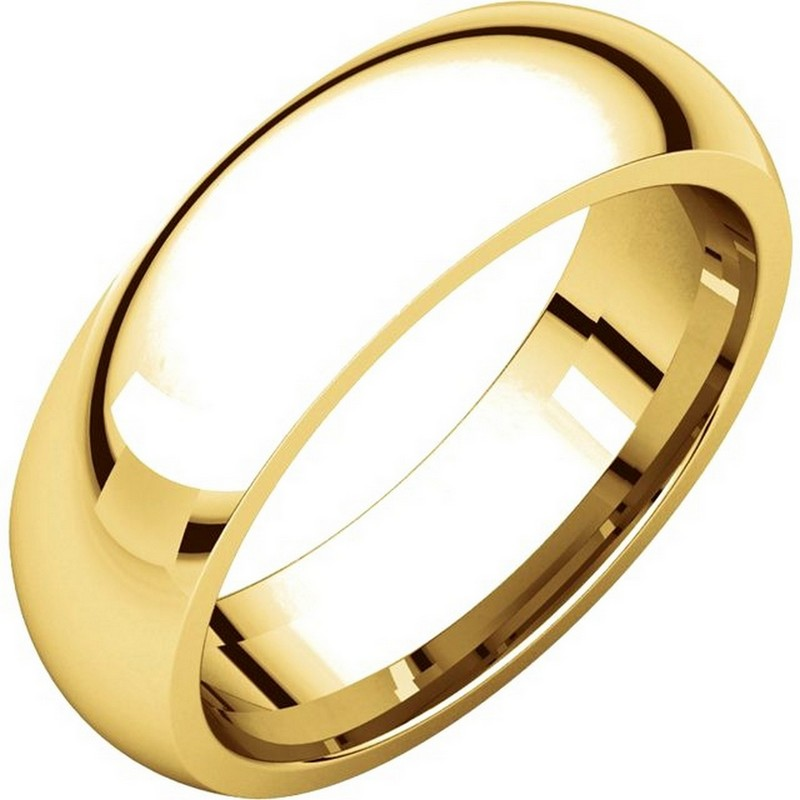 Item # XH123826 - 14K Gold 6mm Heavy Comfort Fit Plain Wedding Band View-1
