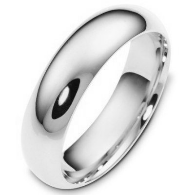 Silver 6mm Comfort Fit Wedding Band