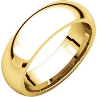 18K Yellow Gold 6mm His and Hers Heavy Comfort Fit Plain Wedding Band