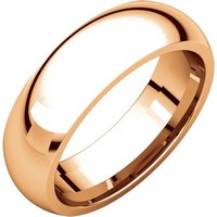 Item # XH123826RE - 18K Rose Gold 6mm Heavy Comfort Fit Plain Wedding Band