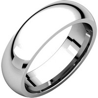 14K White Gold 6mm Heavy Comfort Fit Plain Wedding Band