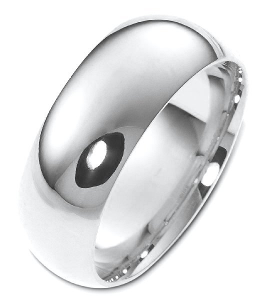 Silver 8mm Comfort Fit Wedding Band