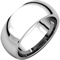 Platinum 8mm Wide His and Hers Heavy Comfort Fit Plain Wedding Band