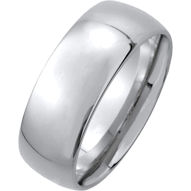14K White Gold Medium Weight 7mm Comfort Fit Wedding Band