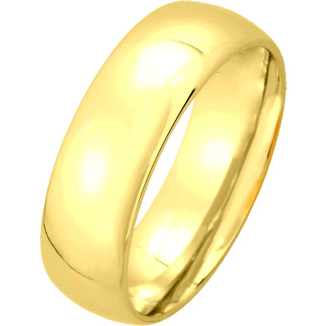 14K Yellow Gold Medium Weight 6mm Wide Comfort Fit Wedding Band