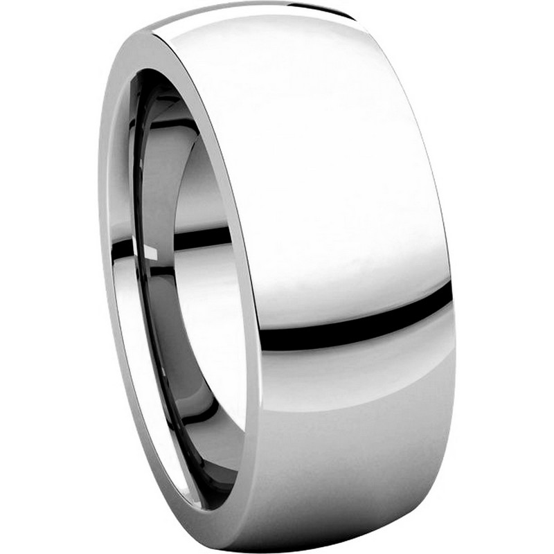 Item # XVH123838W - 14K White Gold 8mm Very Heavy 8mm Plain Comfort Fit Band View-5