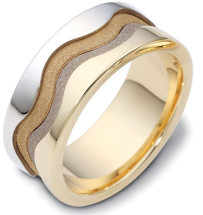 Item # A122071 - One 14 K two tone, 9.0 mm wide , comfort fit unique wedding band. The center of the band has a coarse and heavy sandblast matte finish. The outer edges are polished. Different finishes may be selected or specified.