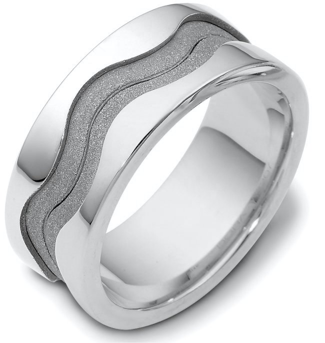 Item # A122071AG - Sterling silver,  9.0 mm wide , comfort fit unique wedding band. The center of the band has a coarse and heavy sandblast matte finish. The outer edges are polished. Different finishes may be selected or specified.