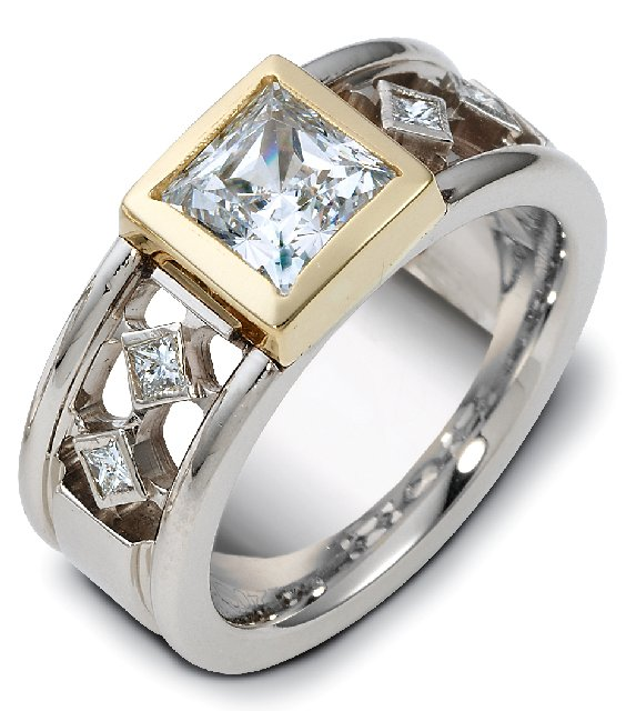 Item # A122401 - 14K two tone ring, 8.0 mm wide comfort fit with 4 princess cut diamonds 0.14 ct total weight. Diamonds are graded as VS in clarity G-H in color. Center diamond can be from 0.75ct to 1.25 ct. Center diamond is not included in this price. The yellow gold bezel around the center stone has a matte finish. The rest of the ring is polished. Different finishes may be selected or specified.