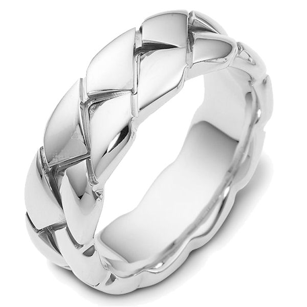 Item # A122581W - 14K white gold braided, 8.0 mm wide, comfort fit wedding band. The finish is polished. Different finishes may be selected or specified.