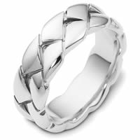Item # A122581WE - 18K White Gold Braided Wedding Band.