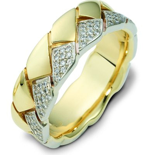 Item # A122611NA - 14 K white and yellow gold 7.5 mm wide, comfort fit, diamond wedding band. Diamonds total weight in size 7.0 is approximately 0.60 ct. The diamonds are graded as VS1-2 in clarity G-H in color. The finish is polished. Different finishes may be selected or specified.