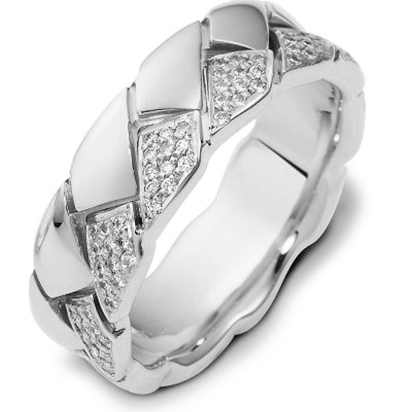 Item # A122611W - 14K white gold 7.5 mm wide, comfort fit, diamond wedding band. Diamonds total weight in size 7.0 is approximately 0.60 ct. The diamonds are graded as VS1-2 in clarity G-H in color. The finish is polished. Different finishes may be selected or specified.