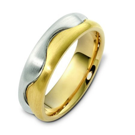 Item # A122621E - 18K white and yellow gold, 6.5 mm wide, comfort fit, wedding band. The finish is brushed. Different finishes may be selected or specified.