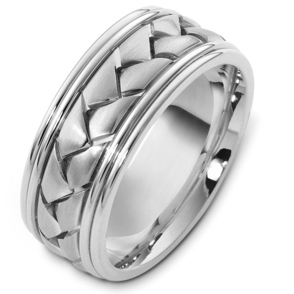 Item # A123491W - 14 kt white gold, braided, comfort fit, 9.0 mm wide wedding band. The braided portion is a brush finish. The outer edges are polished. Different finishes may be selected or specified.