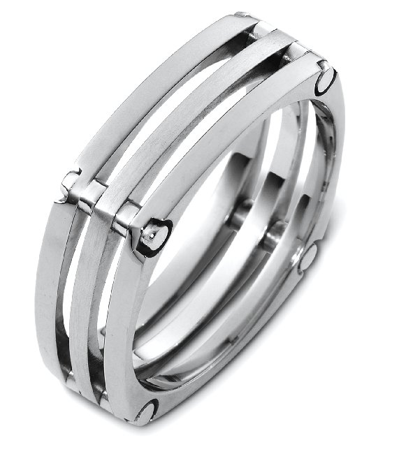 Item # A123571W - 14K white gold,, comfort fit 7.0 mm wide wedding band. The finish in the center band is matte and the other two bands are polished. Different finishes may be selected or specified.