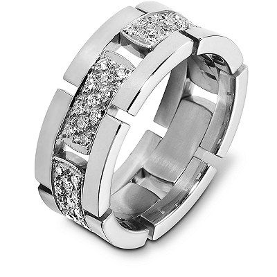 Item # A124671WE - 18K white gold, 8.5 mm wide, comfort fit diamond eternity ring. Diamond approximate total weight is 0.66 ct Diamonds are graded as VS in clarity G-H in Color. The links are flexible. The center of the band is a matte finish and the outer edges are polished. Different finishes may be selected or specified.