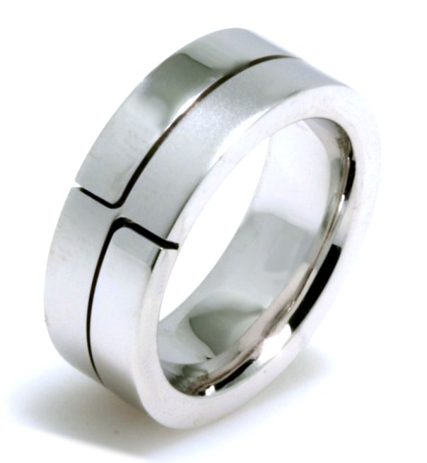 Item # A124731WE - 18K white gold, comfort fit, 7.0 mm wide wedding band. There is a larger separation between the pieces on the other end of the band.  Part of the ring is polished and the other is matte. Different finishes may be selected or specified.