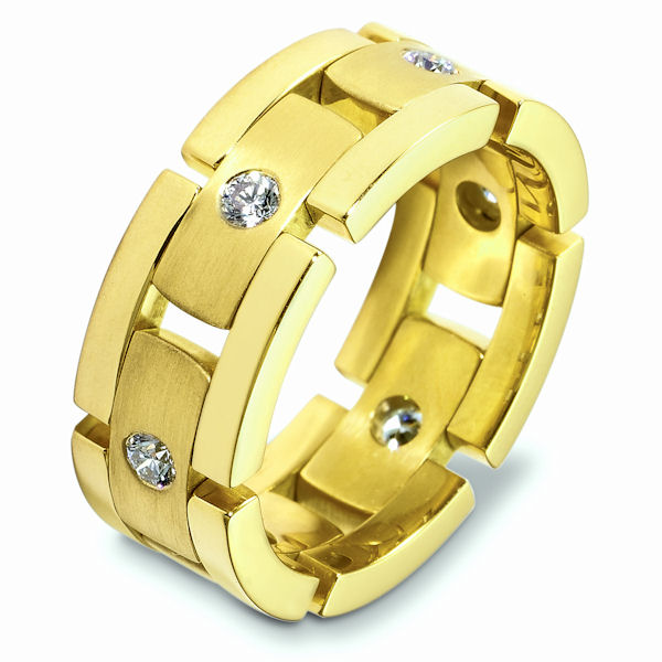 Item # A124931E - 18K yellow gold, flexible, 8.0 mm wide, comfort fit, 0.48 ct tw diamond. Diamonds are graded as VS in clarity G-H in color. The finish in the center of the ring is brushed and the outer edges are polished. Different finishes may be selected or specified.