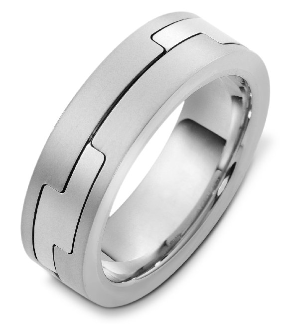 Item # A124961W - 14K white gold, comfort fit, 7.0 mm wide wedding band. The finish is matte. Different finishes may be selected or specified.