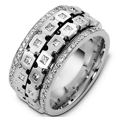 Item # A125241W - 14K white gold, 12 mm wide and 2.6 mm thick, Spinning comfort fit diamond eternity ring. Diamonds in the center parts are rotating independetly of each other. Diamond approximate total weight is 1.75 ct. in size 6.0. Diamonds are graded as VS1 in clarity G-H in color. The finish is matte. Different finishes may be selected or specified.