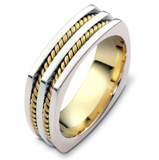 Item # A125581 - 14K Two tone, comfort fit, 7.0 mm wide, hand crafted wedding band. There are two hand made ropes inlayed in the band. The finish on the ring is polished. Different finishes may be selected or specified.