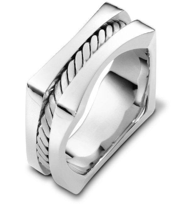 Item # A125861WE - 18 K white, 9.0 mm wide comfort fit square wedding band. There is one handmade rope in the center with a brush finish. The outer edges are polished. Different finishes may be selected or specified.
