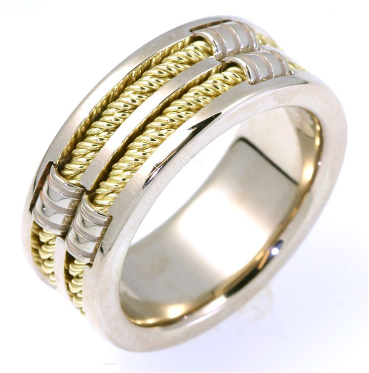 Item # A125921PE - Platinum and 18 K gold two-tone, 9.50 mm wide, 4mm thick, handmade, comfort fit wedding band.  The finish on the hand made platinum cable ropes are matte and the rest of the ring is polished. Different finishes may be selected or specified.