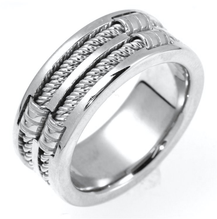 Item # A125921W - 14 K white gold, 9.50mm  wide, 4mm thick, handmade, comfort fit wedding band. The finish on the hand made cable ropes are matte and the rest of the ring is polished. Different finishes may be selected or specified.