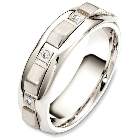 Item # A126781PD - Palladium, 7.0 mm wide, comfort fit diamond wedding band with a contemporary design. There are 8 diamonds around the band for a total weight of 0.08ct. The diamonds are graded as VS in clarity and G-H in color. The center rotating portion is a matte finish and the outer edges are polished. Different finishes may be selected or specified.
