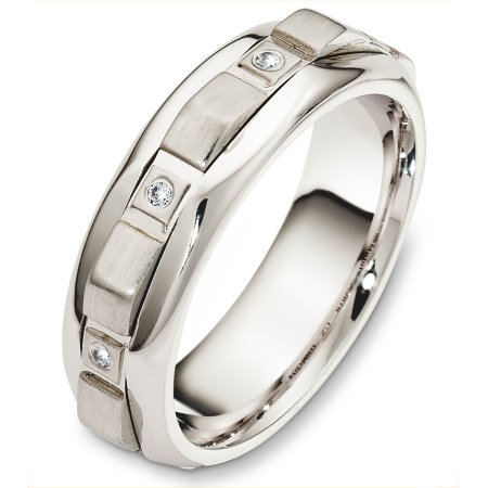 Item # A126781W - 14 Kt White gold and diamond spinning wedding band, 7.0 mm wide, comfort fit. This band holds 0.08 ct tw diamonds that has VS in clarity and GH in color. The center rotating portion is a matte finish and the outer edges are polished. Different finishes may be selected or specified.